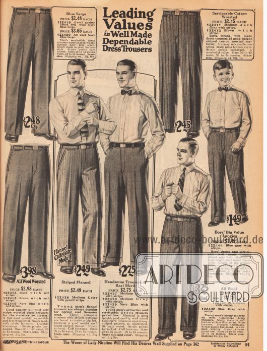 """""""Beste Werte in qualitativ hochwertig gearbeiteten und belastbaren Anzughosen"""" (engl. """"Leading Values in Well Made Dependable Dress Trousers""""). Die hier gezeigten Anzughosen mit Bundfalten für Männer und 6 bis 16-jährige Jungen sind aus mittelschwerem Woll-Serge, leichtem Woll-Flanell, Kaschmir-Wolle sowie Woll- und Baumwollgeweben."""