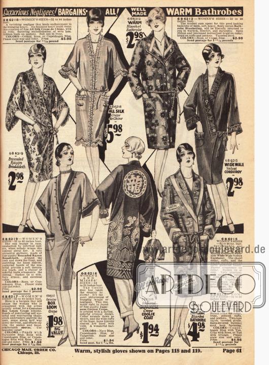 Luxuriöse Negligees und Bademäntel — auch mit Japan Motiven (unten Mitte).