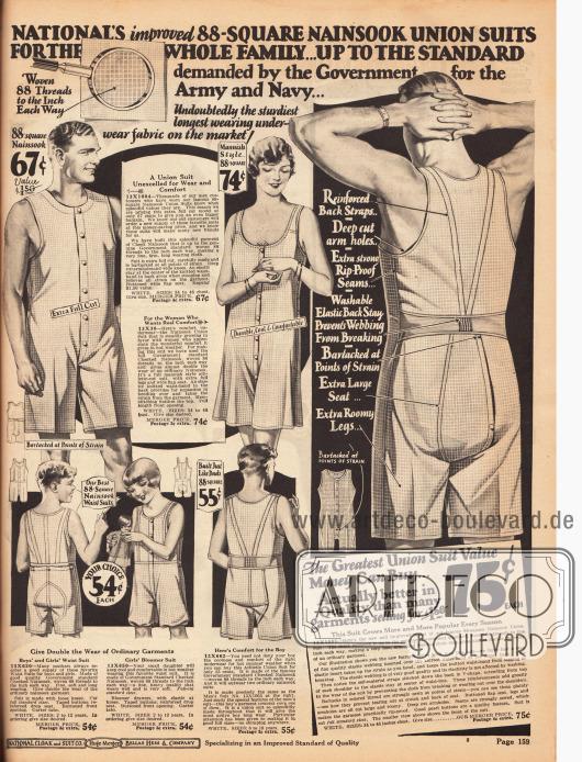 """Leichte, angenehm zu tragende Hemdhosen (engl. """"union suits"""") für die ganze Familie. Die Hemdhosen bestehen aus Nainsook (leichtes Musselin, Baumwollstoff) und besitzen eine Knopfleiste in der Front zum leichteren Anziehen. Wie rechts gezeigt, sind die Hemdhosen im Rücken verstärkt, haben tiefe Armausschnitte, verstärkte Säume sowie ein elastisches und waschbares Rückenband."""
