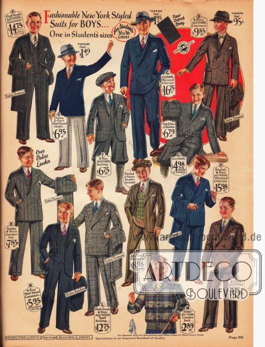 Feine und elegante, überwiegend doppelreihige Anzüge für Jungen im Alter zwischen 7 und 18 Jahre. Die Anzüge sind aus Woll-Kaschmir, Woll-Flanell, reiner Wolle und Woll-Cheviot. Für legerere Anlässe sind vor allem die Anzüge D, F und M und der Norfolk-Anzug G geeignet. Viele Modelle werden zudem mit einer zweiten Hose zum Wechseln geliefert. Unten befindet sich außerdem eine Lumberjack Jacke für Jungen aus reinem Wollstoff.