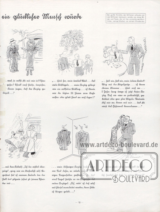 """Gezeichnete, komische Geschichte mit dem Titel """"Wie ich durch Hänsel wieder ein glücklicher Mensch wurde"""". Illustration/Zeichnung und Text: Paul Simmel (1887-1933)."""