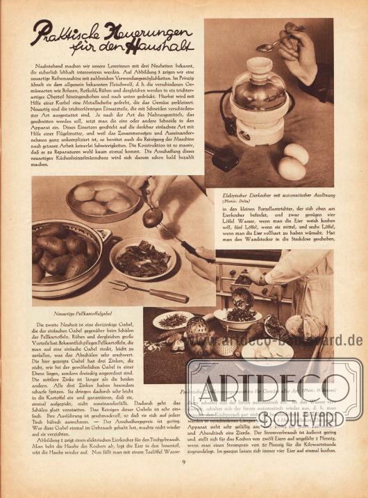 """Artikel: O. V., Praktische Neuerungen für den Haushalt. Die drei zum Artikel gezeigten Fotografien haben die Bildunterschriften """"Elektrischer Eierkocher mit automatischer Auslösung"""", """"Neuartige Pellkartoffelgabel"""" und """"Praktische Zerkleinerungsmaschine für Gemüse aller Art"""". Fotos: Delia; H. Semran."""