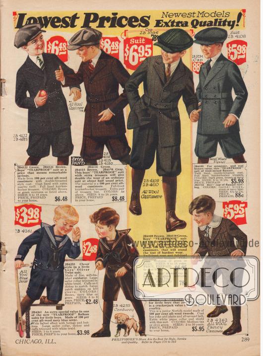 Tagesanzüge für Jungen von 8 bis 18 Jahren und Spielanzüge für Jungen von 3 bis 8 Jahren. Die Anzüge für die älteren Jungs sind aus reinem Woll-Kaschmir und Woll-Flanell. Charakteristisch sind die Taillengürtel der Jacken und die kurzen Hosen. Die Spielanzüge sind aus Woll-Tweed, Woll-Serge und Cord gearbeitet.