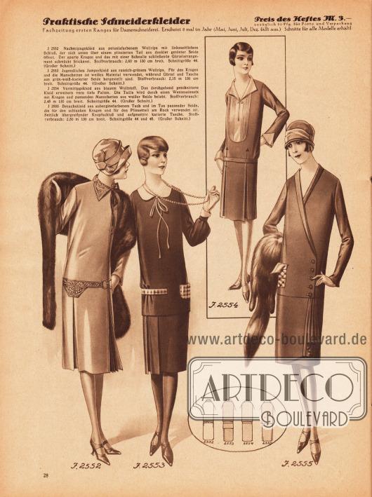 2552: Nachmittagskleid aus petuniafarbenem Wollrips mit linksseitlichem Schluß, der sich unten über einem plissierten Teil aus dunkler getönter Seide öffnet. Der aparte Kragen und das mit einer Schnalle schließende Gürtelarrangement schmückt Stickerei. 2553: Jugendliches Jumperkleid aus russisch-grünem Wollrips. Für den Kragen und die Manschetten ist weißes Material verwendet, während Gürtel und Tasche aus grün-weiß-karierter Seide hergestellt sind. 2554: Vormittagskleid aus blauem Wollstoff. Das durchgehend geschnittene Kleid erweitern vorn tiefe Falten. Die Taille wird durch einen Westeneinsatz mit Kragen und passenden Manschetten aus weißer Seide belebt. 2555: Besuchskleid aus auberginefarbenem Tuch und im Ton passender Seide, die für den schlanken Kragen und für den Plisseeteil am Rock verwendet ist. Seitlich übergreifender Knopfschluß und aufgesetzte karierte Tasche.