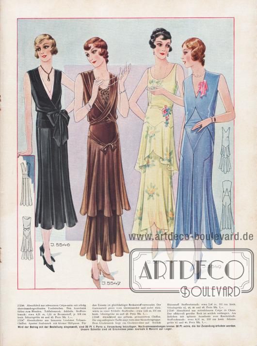 Abendmode 1930. Abendkleider aus schwarzem Crêpe-Satin, braunem Lindener Velours-Chiffon, gelbem, gemustertem Chiffon und mittelblauem Crêpe de Chine.Das erste Kleid zeigt einen Tollfaltenrock und rosa Blenden. Die Vorderteile des nächsten Kleides greifen vorne übereinander. Das Kleid hat einen Stufenrock und einen Brokateinsatz am Ausschnitt.Ein Glockenvolant bereichert das vorletzte Modell, während das letzte Kleid seitliche Verlängerungen und eine rosa Bandschleife am Jäckchen aufweist.