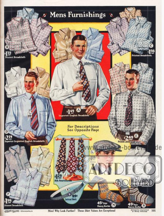Schicke Anzughemden aus bedrucktem Breitgewebe, importiertem englischen Breitgewebe, bedrucktem Jacquard-Breitgewebe und Breitgewebe Krepp mit angenähten Kragen für Herren. Neben den Anzughemden werden auch bunt gemusterte Krawatten aus Seide oder Satin, einem Gürtel mit Nickelschnalle, einer Schiebermütze aus Wolle sowie farbig gemusterte Herrensocken aus merzerisierten Baumwollgarnen angeboten.