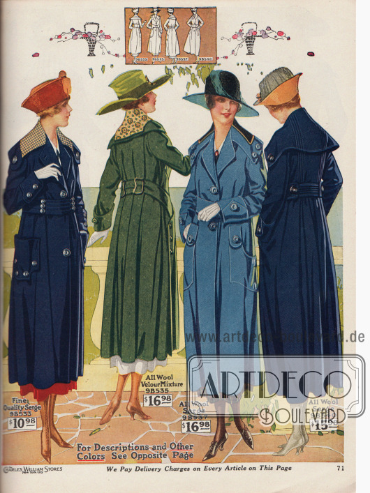 """Vier Frühjahrsmäntel aus Woll-Baumwoll-Serge, Woll-Velours-Mischgewebe sowie reinem Woll-Serge für Damen. Erhältlich sind die Mäntel in Schwarz, Marineblau, Grün oder """"French Blue"""" und """"Liberty Blue"""" (beide Farben Mittelblau). Breite Gürtel, viele große Zierknöpfe, weit ausladende Kragen sowie große aufgesetzte oder eingearbeitete Taschen sind modisch. Bei drei Mänteln wurden die Kragen mit Überkragen in farblich abstechenden, hellen Mustern besetzt. Die Mäntel sind etwas kürzer als die Kleider geschnitten. Alle Modelle sind ungefüttert."""