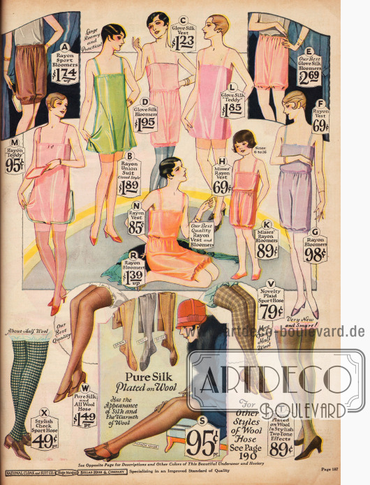 """Damenunterwäsche aus Rayon und Seide in Rosa, Grün, Orange, Lila und Braun.Zu sehen sind Hemdhöschen, sog. """"Teddies"""" (B, L, M), Hemden und Pumphöschen.Unten im Bild sind Strümpfe aus Seide und Rayon und Strümpfe mit Musterung für sportliche Aktivitäten."""