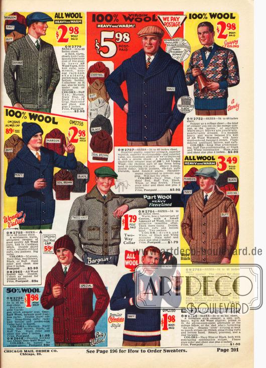 Strickjacken (Cardigans), Blousons und Pullover für Männer aus Wollstoffen und teilweise aus Baumwolle für Sport und kaltes Wetter.