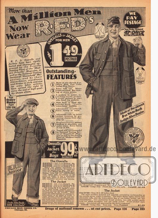 Günstige Arbeitsanzüge bestehend aus Overall und Jacke aus Jeansstoffen (Denim) in schweren Qualitäten für Jungen und Männer. Um eine hohe Strapazierfähigkeit zu gewährleisten wurden viele Nähte mehrfach vernäht und verstärkt.