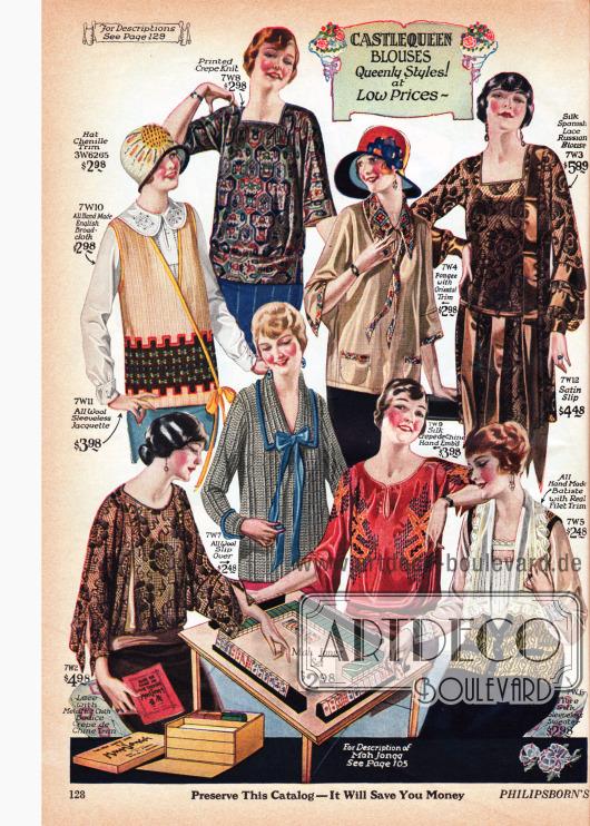 """Blusen der Marke Castlequeen aus Breitgewebe, bedrucktem Kreppstrick, Pongee (Seide), Seide und spanischer Spitze, Spitze und metallisch glänzendem Crêpe de Chine, Wolle, Seiden Crêpe de Chine und Batist (feinfädige Baumwolle). Anders als zu Beginn der Dekade sind die weit überlappenden Kragen bei den Blusen nahezu vollständig verschwunden. Wie auf Seite 105 wird auch hier das in der Mitte der Zwanziger sehr populäre Spiel Mahjong (hier """"Mah Jongg"""") in das Angebot mit eingebracht."""