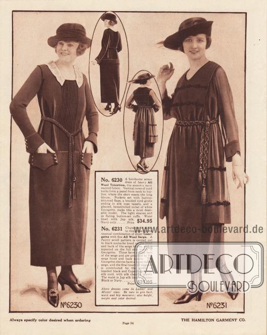 6230: Teures Straßenkleid aus Woll-Trikotine zum Preis von 34,95 Dollar. Die Vorder- und Rückenpartie ist mit vertikalen Kord-Biesen abgenäht. Eine gürtelähnliche Lasche ist um die Hüften geführt und bildet auf der Vorderseite zwei großzügige Taschen. Taschen und Ärmelaufschläge sind mit Knöpfen versehen. Ein weißer, vorne geteilter Kragen aus plissiertem Georgette berandet den Ausschnitt. Ein Seil mit Quasten dient als Gürtel. 6231: Ein elegantes Kleid in der mittleren Preisklasse für 25,95 Dollar aus Woll-Serge mit Ärmeln und Seitenpaneelen aus Georgette. Brust, Rücken sowie die tunikaartigen Paneele sind mit Soutache-Stickerei versehen. Der lange Hüftgürtel besteht aus geflochtenem schwarzem und kopenhagenblauem Seiden-Kord und endet beidseitig mit Quasten aus Seiden-Chenille. Das Oberteil ist mit japanischer Seide gefüttert.