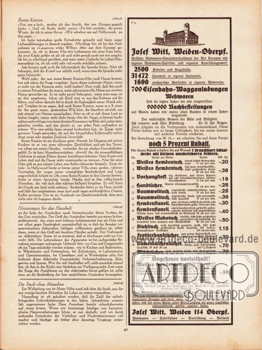 Artikel: O. V., Buster Keaton. Der Komiker, der niemals lacht; O. V., Neuerungen für den Haushalt; O. V., Die Stadt ohne Menschen. Werbung: Josef Witt, Weiden 114 Oberpfalz.