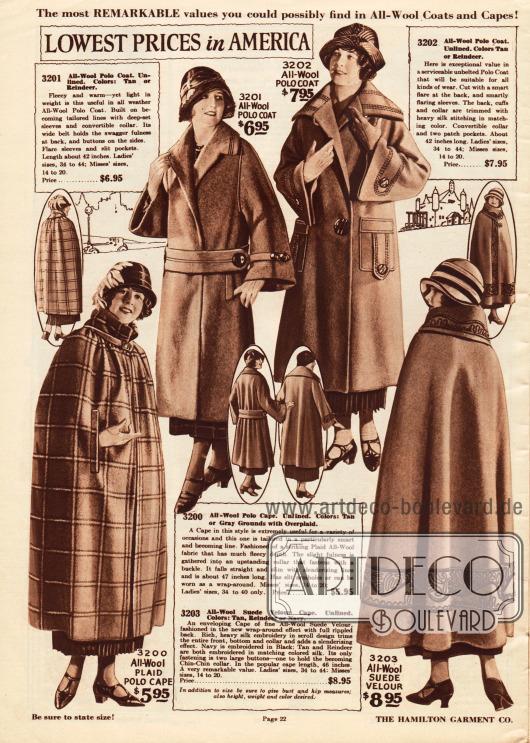 """Zwei Damenmäntel aus reinen Wollgeweben sowie zwei Umhänge aus reiner Wolle und Woll-Velours.Die beiden Mäntel oben besitzen einen weiten Schnitt (hier im original """"swagger fulness""""), glockig weite Unterärmel und große Zierknöpfe. Der zweite Mantel kommt ohne Gürtel aus, zeigt große Taschen sowie dezente lineare Seidenstickerei.Der Umhang links ist ungefüttert, wird über einen Riemen mit Schließe am Hals geschlossen und hat Durchbrüche für die Hände. Das rechte Modell präsentiert flächig ornamentale Stickerei an Kragen, Öffnung sowie rings um den Saum des Umhangs."""