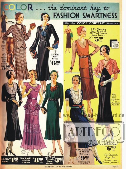"""In jeder Weise schicke Kleider für die Dame. """"Farbe … ist der beherrschende Schlüssel zur modischen Eleganz""""."""