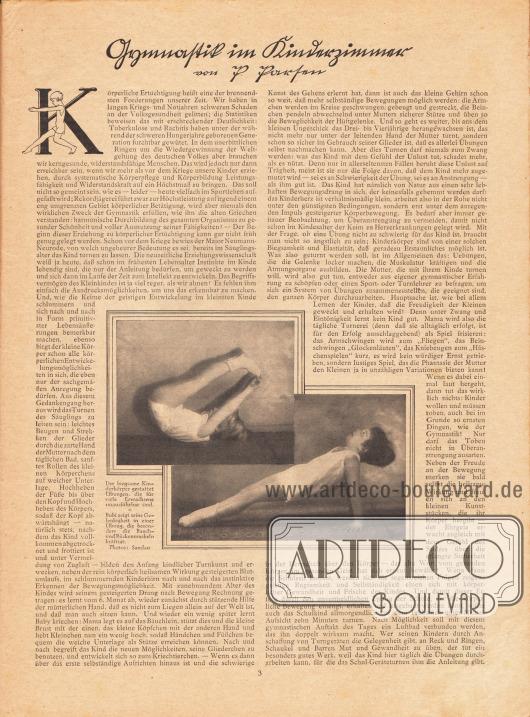 Artikel: Parten, P., Gymnastik im Kinderzimmer. Mit zwei Fotografien, die einen Jungen bei Gymnastikübungen zeigen. Fotos: Sandau.