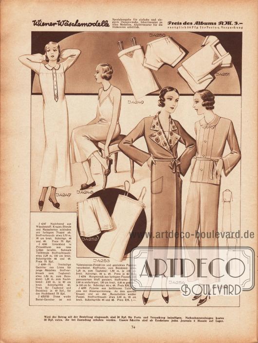 4247: Nachthemd aus Wäschestoff. Kragen, Blende und Manschetten schließen mit farbigem Paspel ab. 4248: Unterkleid in Prinzeßform aus rosa Crêpe lavable (Waschkrepp). Schmale Tüllblende. 4249/51: Dreiteilige Garnitur aus Linon für junge Mädchen, bestehend aus Taghemd, Beinkleid und Nachthemd. 4252/53: Diese weiße Batist-Garnitur (Beinkleid und Taghemd) ist mit Valenciennes-Einsätzen und gestickten Punkten verarbeitet. 4254: Morgenrock aus farbigem Flausch, mit gemustertem Stoff garniert. 4255: Pyjama aus hellblauem Toile de soie mit Biesengarnierung. An dem aparten Kragen und an den Manschetten weißer Paspel.