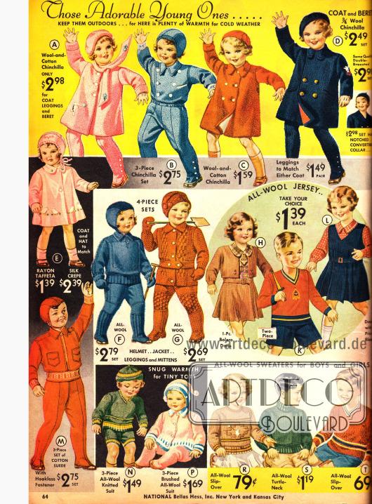 Kleidchen, Anzüge und Stricksachen für Jungen und Mädchen bis 6 Jahre.