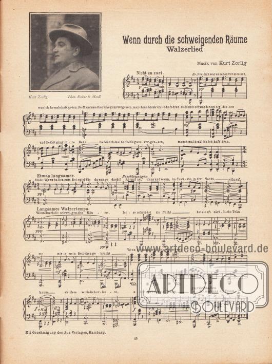 """Musikbeilage der Modenschau mit der Melodie """"Wenn durch die schweigenden Räume"""" (Walzerlied). Text und Musik stammen vom Komponisten Kurt Zorlig (1893-1941, kleines Foto links oben). Foto: Becker & Maaß, Berlin (1893-ca.1938)."""