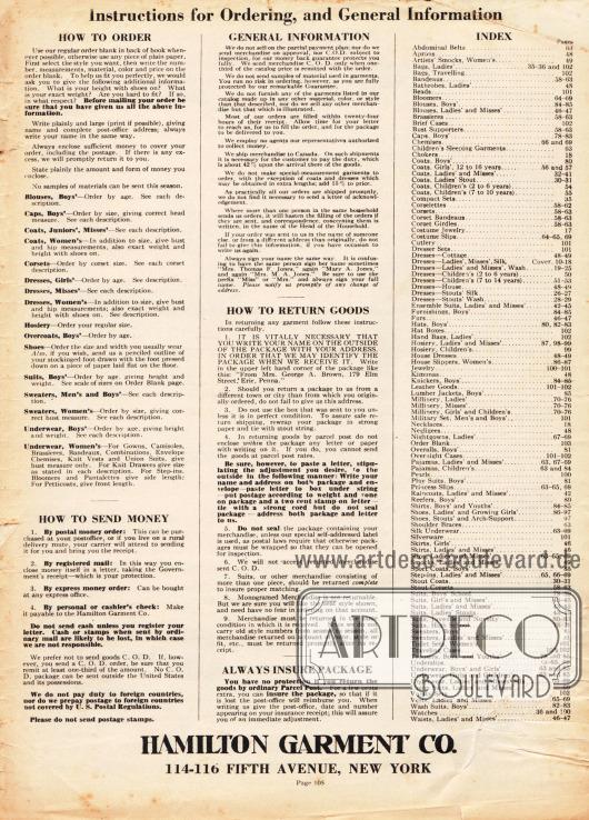 Seite mit dem Übersichts-INDEX rechts, Hinweisen zur Bestellung sowie allgemeinen Informationen. Links finden sich Anweisungen zur Bestellung der Kleidung im Katalog, zu den Bezahlungsmodalitäten, allgemeinen Erklärungen, dem Rückversand von bestellter Ware sowie der Bitte Retourware zu versichern.