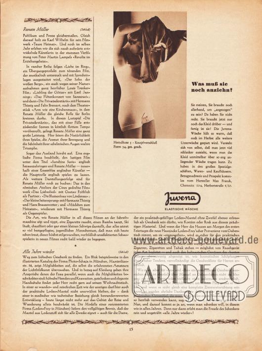 """Artikel: O. V., Renate Müller; Wedekind, Anna P., Alle Jahre wieder.  Werbung: """"Was muß sie noch anziehn?"""", Fotografie einer jungen Frau in Hemdhose, Juvena – elastische Wäsche. Foto: unbekannt/unsigniert."""