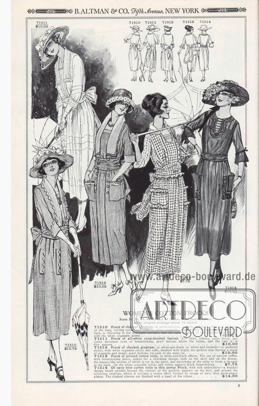 B. ALTMAN & CO., Fifth Avenue, NEW YORK.  BAUMWOLL-DAMENKLEIDER. Größen 34, 36, 38, 40, 42 und 44 Zoll Oberweite. Rocklänge durchschnittlich ca. 36 Zoll.  71S10: Kleid aus kariertem Gingham, in Weiß-Blau oder Weiß-Schwarz. Die kühle Frische des langen Umlegekragens und der Ärmelaufschläge aus weißem Organdy, gesäumt und so angemessen für warme Tage, ist äußerst charmant in den bogigen Konturen; und die zugeschnittenen Laschen des Ginghams sind mit den weißen Organdy-Zacken abgeschlossen… 10,75 $. 71S11: Sommerkleid aus ganz weißem Feinbatist. Der Rock, die Ärmel, die Manschetten, der Kragen und das Westchen sind mit Reihen von Hohlsäumen versehen, Perlmuttknöpfe zieren das Westchen und die Spitze ist im Filetmuster… 10,00 $. 71S12: Kleid aus kariertem Gingham, in Weiß-Schwarz oder Weiß-Lavendel – ein Modell mit Taschen, mit weißem Organdy-Kragen und Ärmelaufschlägen, abgeschlossen mit Borte, die Taschen haben auch einen Hauch von Organdy und Borte; Perlmuttknöpfe; breiter Bindegürtel aus Kleidmaterial… 10,00 $. 71S13: Kleid aus bedrucktem Baumwoll-Voile, in weiß-schwarzen Effekten. Die Verwendung von schmalen Rüschen mit darüber liegendem Hohlsaum sorgt für ein reizvolles Design. Sowohl am Rock als auch an der Bluse ist ein draperieartiger Teil aus einem Stück geschnitten, der sich an den Seiten verengt, um im Rücken eine Schärpe zum Binden zu bilden. Auf dem weißen Organdy-Kragen und dem Plastron erscheint ein schwarzer Hohlsaum… 7,75 $. 71S14: Aus marineblauem Baumwoll-Voile ist dieses hübsche Kleid mit Seidenstickerei – ein flechtartiges Muster, das sich über die Kontur der Taschen hinaus erstreckt, auf dem Gürtel und um den kragenlosen Ausschnitt herum erscheint, wo es einen Westen-Effekt umreißt, der durch Bänder aus marineblauem, mit Picotkante besetztem Band gebildet wird. Die geschlitzten Ärmel sind mit einem Band aus demselben Material abgeschlossen… 14,00 $.  [Seite] 8