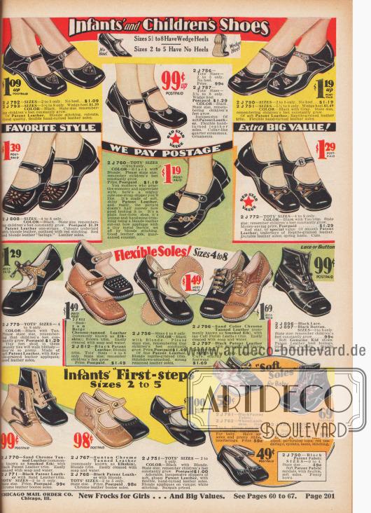 """""""Kleinkinder- und Kinderschuhe"""" (engl. """"Infants' and Children's Shoes""""). Riemenschuhe, Sandalen und Babyschuhe aus schwarzen Lackledern, chromgegerbtem Hirschleder, weichem Chevreauleder (Ziegenleder) oder Lammleder für Säuglinge und Kleinkinder bis etwa 4 Jahre. Die Schuhe sind mit kleinen Perforationen, hellen Ziernähten und farblich abstechenden Ledereinlagen (""""Underlays"""") kombiniert. Lackleder werden mit reptilienartig genarbtem Leder dekorativ verschönt. Alle Modelle mit flachen Absätzen."""