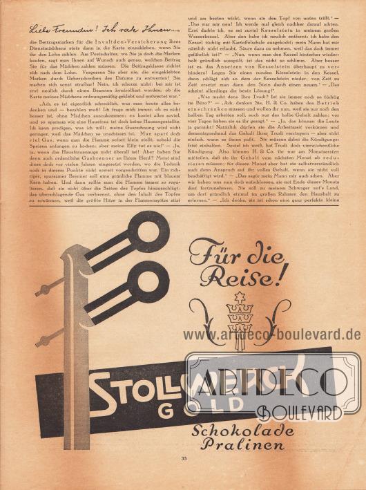 """Artikel: Paula, Anna, Liebe Freundin! Ich rate Ihnen… . Werbung: """"Für die Reise!"""", Stollwerck Gold, Schokolade und Pralinen."""