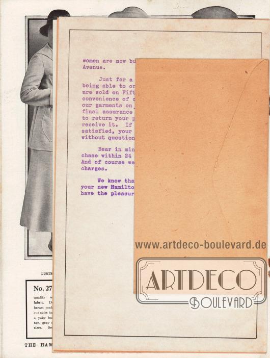 Lose Beilage im Katalog: Rückseite des Briefumschlages zum Verschicken der Bestellung. Maße des Umschlages: 15,3 x 8,7 cm / 6,02 x 3,43 in.
