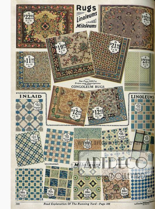 Vier Teppiche aus Samt (A-D) und Linoleumbeläge für die Küche und andere Räume.