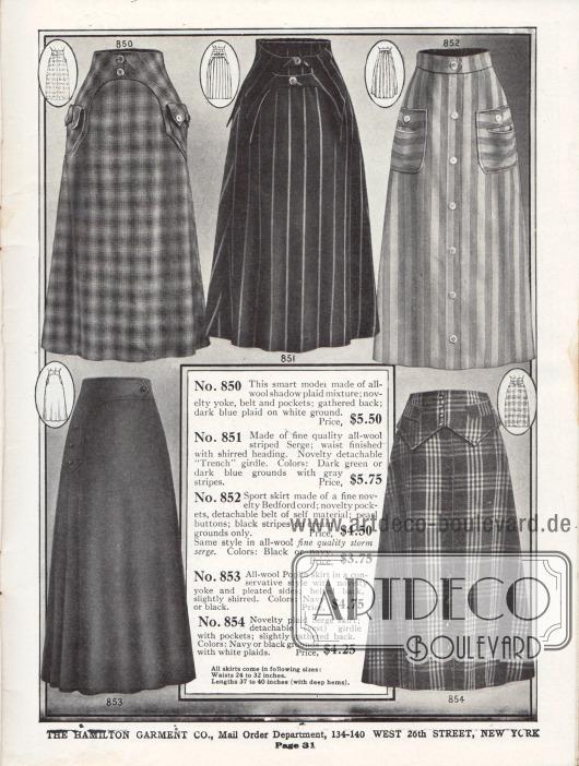 """Damenröcke aus matt kariertem Wollstoff, gestreiftem Woll-Serge, einem Sportrock aus Bedford Kord, Woll-Popeline und nochmals Sergestoff. Die recht fantasievoll geformten Gürtel bestehen aus dem gleichen Rockmaterial und sind effektvoll aufgesetzt. Zwei der Röcke zeigen interessante Taschen. Knöpfe dienen auch der Zierde. Modell 851 präsentiert einen """"Trench girdle"""", einen abnehmbaren Gürtel, wie er in den Schützengräben Europas verwendet wird."""