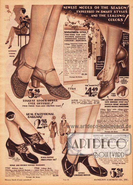 """Pumps, Schnallenschuhe und Sommersandalen für Frauen und junge Damen. Die Damenschuhe sind aus schwarzem Lackleder oder beigem Rindsleder und des Öfteren mit helleren oder dunkleren Ledersorten kombiniert. Oben links befindet sich ein aus der Tschechoslowakei importierter sommerlicher Sandalenpump aus luftdurchlässigem und hangeflochtenem Leder und zusätzlichen Perforationen. Die Schuhe sind mit hohen, schlanken Absätzen (""""spike heels""""), Kubanischen Absätzen, militärischen oder auch niedrigen """"college heels"""" bestellbar."""