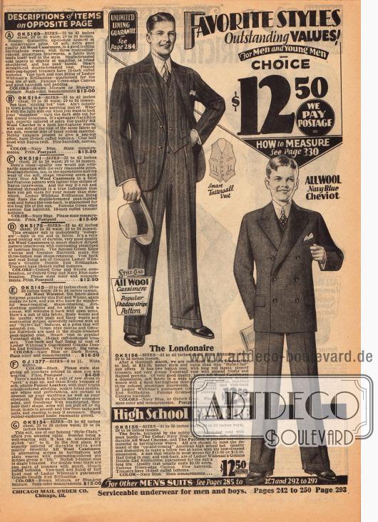 Ein einreihiger Anzug für elegante Herren aus Woll-Kaschmir und ein zweireihiger Anzug für junge Männer im High School Alter aus Woll-Cheviot - beide für 12,50 Dollar erhältlich. Rechts sind die Erläuterungen der Herrenanzüge der vorherigen Farbseite 292.