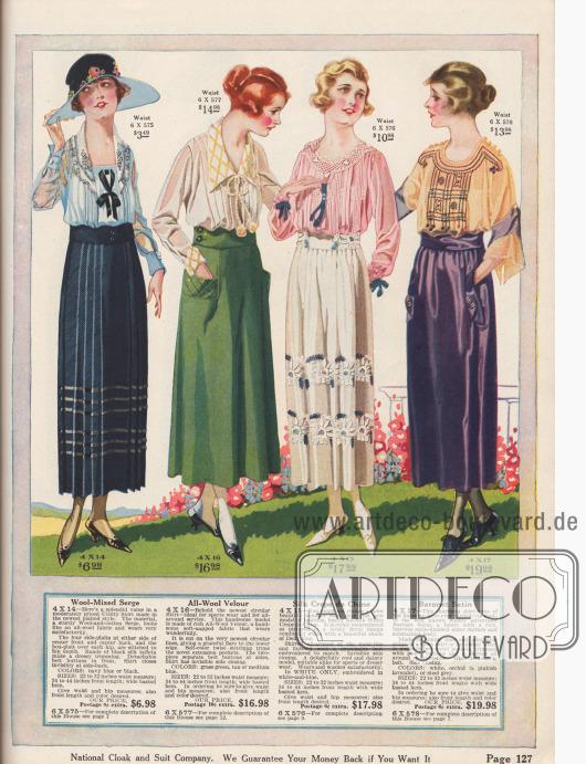 Röcke für den Haushalt und legere Anlässe aus pflegeleichtem Woll-Serge und Woll-Velours oder aus kleidsamem Seiden-Crêpe de Chine und Baronet Satin.