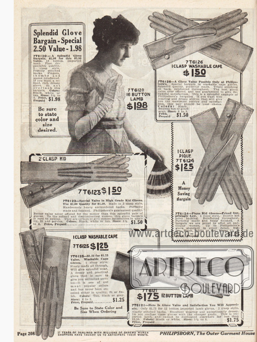 Feinste, kleidsame Damenhandschuhe aus Lammleder und Chevreauleder. Nähte, Handschuhrücken und Finger wurden mit zusätzlichen Nähten verstärkt, um die Langlebigkeit der Handschuhe zu gewährleisten.