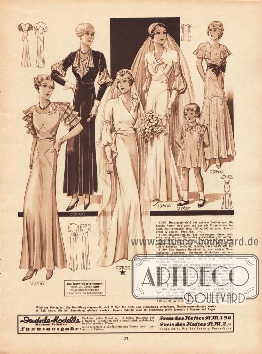 7597: Brautjungfernkleid aus grünem Seidenkrepp. Die kurzen Ärmel sind ganz und gar mit Plisseevolants besetzt. 7598: Brautmutterkleid aus schwarzem Crêpe Matmira, auch für den Nachmittag verwendbar. Für Ärmelpuffen und Ausschnittgarnitur ist beigefarbene Spitze empfehlenswert. 7599: Das elegante Brautkleid ist aus weißem Marocainkrepp gearbeitet. Kleidsame Wickelform mit seitlichem Schleifenarrangement. Tief angesetzte Puffärmel. 7600: Brautkleid aus weißem Seidenkrepp in asymmetrischer Linienführung. Die aus Spitzenstoff bestehenden Ärmel sind unterhalb des Ellbogens gebauscht. 7601: Festkleidchen aus rosa Seide, mit schmalen Volants garniert. Schnitt für Mädchen von 2 bis 4 Jahren. 7602: Jugendliches Festkleid aus pastellfarbenem Taft. Der mehrfach geteilte, glockig geschnittene Rock ist in Bogenlinie tief angesetzt. Die Ränder können mit Schrägband eingefaßt werden.