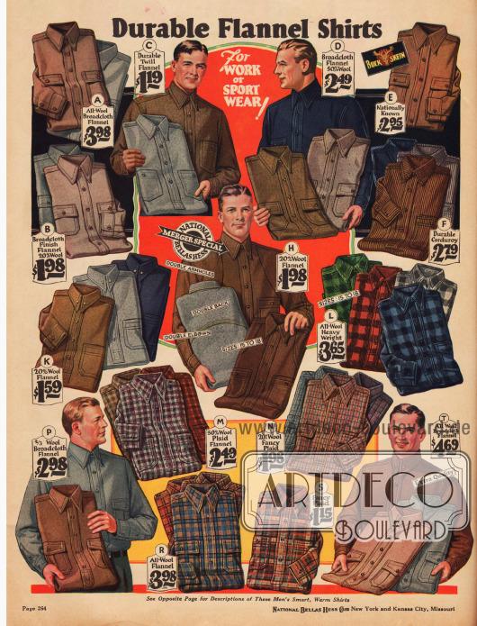 Robuste Sport- und Arbeitshemden aus reinen und Wollmischstoffen wie Flanell, Kord und Breitgewebe.