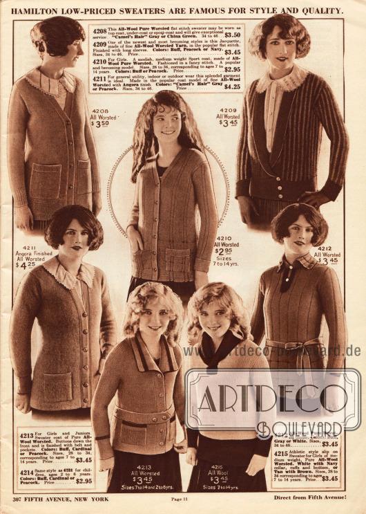 """Pullover, Strickpullover (engl. """"cardigan"""") und gestrickte Kasaks aus Wolle, Angorawolle oder Kammwolle für Frauen und Mädchen. Viele Pullover besitzen praktische Taschen."""