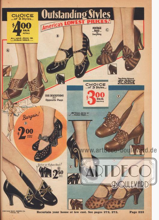 """Hervorragende Modelle – Amerikas NIEDRIGSTE PREISE!  (A) 4 J 283 – Spitz-Absatz ca. 2½ Zoll. 4 J 284 – Kubanischer Absatz. GRÖSSEN 2½ bis 8. Weiten C, D, oder E. FARBE: Blattbraun mit Blond. Geben Sie Größe, Breite und alle Nummern im Schuh an, die Sie tragen… $4,00. Oxfords sind in dieser Saison schicker, individueller und begehrter denn je! Dieses Paar aus weichem, feinem, echtem Chevreauleder, in einer eleganten zweifarbigen Kombination, sind ein Meisterstück. Durchbrochene """"Leiter""""-Ausschnitte. Feine Leder-Sohlen. Bedeckte Absätze, nicht abfärbendes Quartier-Innenfutter aus Leder. Ausgezeichneter Wert! (B) 4 J 552 – Ungefähr 2½ Zoll hoher Spitz-Absatz. 4 J 553 – Kubanischer Absatz. GRÖSSEN 2½ bis 8. Weiten C, D, oder E. FARBEN: Schwarz mit Blond. Bitte geben Sie die Größe an und alle Nummern, die im Schuh aufgedruckt sind, die Sie tragen. Sparpreis, vorfrankiert… $4,00. Entworfen von einem wahren Künstler; unverwechselbare und schöne Ein-Riemen-Schuhe aus weichem, feinem Lackleder. Blonde, bogige Ledereinfassungen, blonde Applikationen und Schleifen verleihen Charme. Feine Qualitäts-Ledersohlen, gedeckte Absätze, nicht abfärbendes Quartier-Innenfutter aus Leder. Garantierte Widerlager. (C) 4 J 259 – ca. 2½ Zoll hoher Spitz-Absatz. 4 J 260 – Kubanischer Absatz. GRÖSSEN 2½ bis 8. Weiten C, D, oder E. FARBE: Blattbraun mit Tan. Bitte geben Sie die Größe an und alle Nummern, die in den Schuhen aufgedruckt sind, die Sie tragen. Sparpreis, vorfrankiert… $4,00. Sie werden es genießen, in diesen Laschen-Pumps mit einer Öse auszugehen. Sie sind ultra schick und kommen in dem neuen, eleganten Herbstbraun, den elegante Damen gerne annehmen. Aus feinem, weichem, echtem Chevreauleder und modischem, genarbtem Reptilleder. Perforationen; Schnürsenkel aus Satinband. Feine Qualitäts-Ledersohlen, bezogene Absätze, nicht abfärbendes Quartier-Innenfutter aus Leder. Garantierte Widerlager. (D) 4 J 221 – GRÖSSEN 2½ bis 8. Breite Weiten. FARBE: Schwarz mit Blond. Bitte geben Sie die G"""