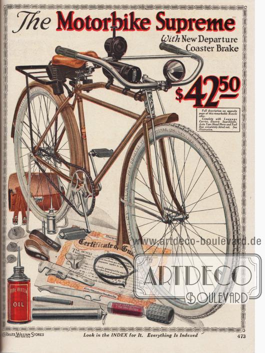 """""""Das Fahrrad Supreme mit neuer Rücktrittbremse"""" (engl. """"The Motorbike Supreme with New Departure Coaster Brake""""). Fahrrad für 42,50 Dollar mit der Modellbezeichnung """"Motorbike Supreme"""", das auf der gegenüberliegenden Seite 472 vollständig beschrieben wird."""