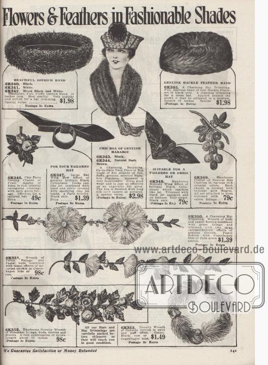 """""""Blumen und Federn in modischen Farbtönen"""" (engl. """"Flowers & Feathers in Fashionable Shades""""). Günstige Hutgarnituren und Hutaufputz zu Preisen von 49 Cent bis 1,98 Dollar sowie eine Federboa für 2,98 Dollar.  6K340 / 6K341 / 6K342: Großes Straußenfederband in Ringform. 6K343 / 6K344: Schicke Boa aus fluffigen Marabufedern mit langen Seiden-Kord-Quasten in Schwarz oder natürlichem Dunkelbraun. 6K345: Rundes Band aus Hahnen-Nackenfedern. 6K346: Büschel mit Früchten und dunklem Blattwerk. 6K347: Große Fledermaus-Flügel-Schleife aus schwarzem Cellophan mit einem Ring und Band aus glänzenden, kleinen Jett- bzw. Gagat-Perlen. 6K348: Flügel-Ornament aus glänzend schwarzem Cellophan mit funkelnden Gagat-Perlen. 6K349: Traube mit von Golddraht ummantelten Kirschen und Samt-Blättern. 6K350: Gebinde mit kleinen Knospen, Beeren, Blättern und zwei großen Chrysanthemen aus Straußenfedern. 6K351: Kranz mit Samt-Blattwerk, pastellfarbenen Knospen und quastenartige, lockige, kurze Straußenfeder. 6K352: Zweig mit irisierendem Blattwerk, Knospen, Beeren und Blüten. 6K353: Neuartiges Federgebinde aus echten Straußenfedern im Strudel- und Knäul-Effekt."""