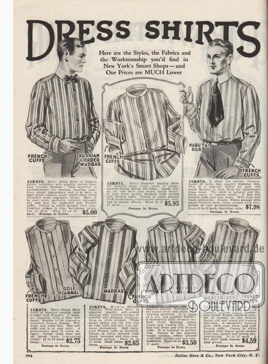 """""""Anzughemden. Hier sind die Modelle, die Stoffe und die Verarbeitung, die Sie in New Yorks eleganten Boutiquen finden würden – aber unsere Preise sind VIEL niedriger"""" (engl. """"Dress Shirts. Here are the Styles, the Fabrics and the Workmanship you'd find in New York's Smart Shops – and Our Prices are MUCH Lower""""). Gestreifte Anzughemden aus gebiestem Madras, Satin de Luxe, Habotai Seide, Golf Flanell, merzerisiertem, seidigem Oxford-Stoff oder Rajah Popeline (ähnlich Rajah Seide) für elegante Herren zu Preisen von 2,69 bis 7,98 Dollar. Hemden mit französischen Ärmelaufschlägen, aber ohne Kragen; diese müssen separat bestellt werden."""