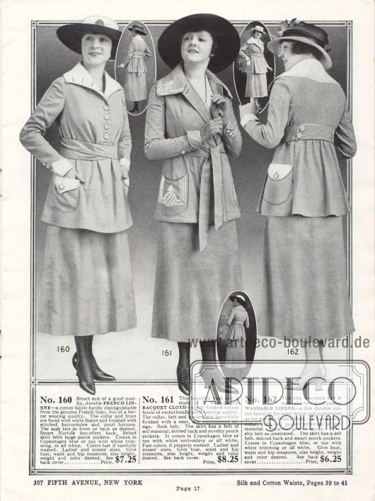 """Einfache und sehr günstige Kostüme aus französischem Leinengewebe, """"Racquet Cloth"""" (Baumwollstoff) und Waschleinen. Alle drei Jacken präsentieren aufgesetzte Taschen, breite Kragen, mittelbreite Gürtel und Zierknöpfe. Taschen und Kragen des mittleren Modells sind mit Ornamenten aus Seide bestickt."""