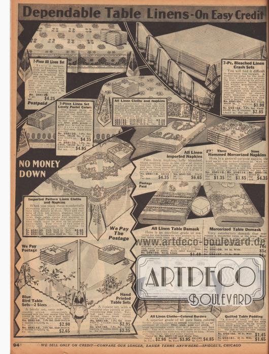 """""""Zuverlässige Leinen-Tischdecken – Auf günstigem Kredit"""" (engl. """"Dependable Table Linens – On Easy Credit""""). Tischdecken und Tischtücher-Sets, die zusammen mit Stoffservietten verkauft werden. Die Tischdecken sind aus gebleichten, teilweise aus Irland importierten Leinengeweben oder Leinen-Baumwoll-Geweben. Die Kanten oder die ganze Decke sind gestreift, gemustert oder von Hand bemalt und zeigen ornamentale Muster, Blumendekors oder das in den USA beliebte """"Blue Bird""""-Muster (Glückszeichen). In der Mitte rechts findet sich Meterware zur Eigenherstellung."""