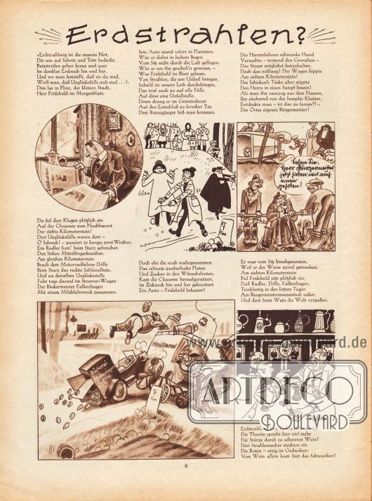 """Lustige Zeichnungen und kurze Reime zum Thema """"Erdstrahlen"""".Zeichnungen: Hans Kossatz (1901-1985)."""