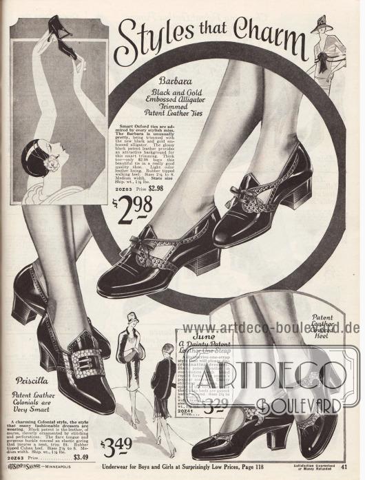"""""""Mode die bezaubert"""" (engl. """"Styles that Charm""""). Mondäne Damenschuhe aus schwarzem Lackleder kombiniert mit Leder mit Alligator Narbung. Die Schuhe zeigen niedrige oder kubanische Absätze (leicht geschwungene, mittelhohe, dicke Absätze). Die beiden oberen Modelle sind Oxfords, das Modell rechts unten ist ein Schuh mit Riemchen. Das Schuhpaar links unten ist im Kolonialstil mit Schnalle aufgemacht und zeigt Stickerei und Zierperforation."""