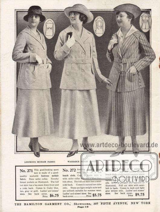 """Einfache und günstige Kostüme für sportliche Aktivitäten aus leicht schimmerndem Mohairgewebe (Wolle der Angoraziege) und zwei Modellen aus """"beach cloth"""" (ein dünnes, leichtes Mohairgewebe). Die Jacke des ersten Kostüms besitzt zwei kleine Brusttaschen sowie zwei interessant geformte Schoßtaschen. Die zweite Kostümjacke lehnt sich sehr stark dem sportlichen Stil der Norfolk-Anzüge für Herren an. Vorne und im Rücken sind jeweils zwei Laschen angearbeitet. Der Kragen des dritten Modells ist abnehmbar. Allen Modellen gemein sind die tiefen und breiten Matrosenkragen."""
