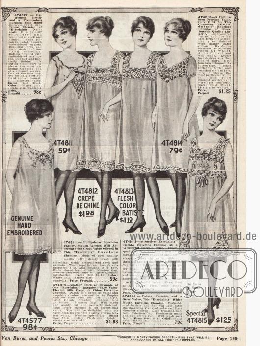 Damenunterwäsche. Knielange Hemden aus Nainsook (Baumwollmusselin), Musselin, Crêpe de Chine und Batist. Berandungen aus Spitze, kleine Schleifchen und Stickereien gehören zur Standartverzierungen feiner Unterwäsche.