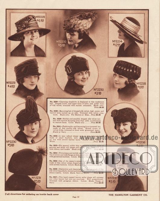 """Kleidsame Damenhüte aus Seiden-Samt, Plüsch (hier engl. """"seal plush"""" genannt), zusammengesetzten Veloursstreifen oder Biberfell. Unter den Modellen sind drei breitkrempige Hüte, ein Hut mit einer vierkantigen Krempe (2231), ein Dreispitz (2232) sowie vier Turbane (2230, 2233, 2235, 2236). Als Aufputz der Hüte dienen drapierte Satin-Bänder, Feder-Pompons, kleine Federn sowie große Straußenfedern, Bänder und Metallschließen, Moiré-Seide und Federflanken, neuartige Knöpfe sowie Ripsband-Rosetten."""