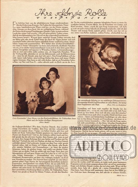 """Artikel:Parsen, P., Ihre schönste Rolle.Zum Artikel gehören zwei Bilder mit den Bildunterschriften """"Gute Kameraden! Anni Mewes [1895-1980] von den Reinhardt-Bühnen, ihr Töchterchen Anne-Marie [1922-] und die beiden drolligen Hausgenossen"""" sowie """"Das entzückende Bübchen ist ein reinblütiges Schauspielkind, die anmutige blonde Lia Eibenschütz [1899-1985] ist seine Mutter, der lustige Kurt Vespermann [1887-1957] sein Papa"""".Fotos: Binder&#x3B; Frhr. von Gudenberg."""